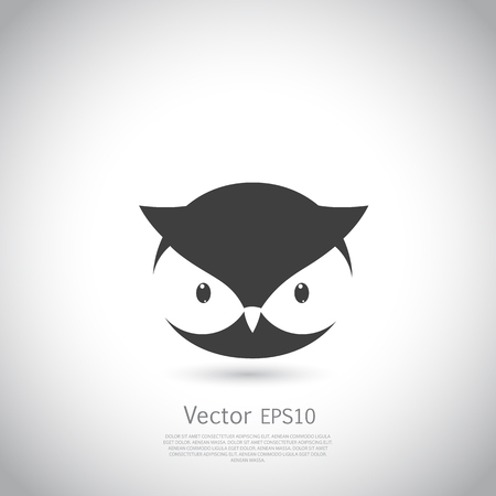 Owl icon. Black silhouette on gray background. Vector illustration.