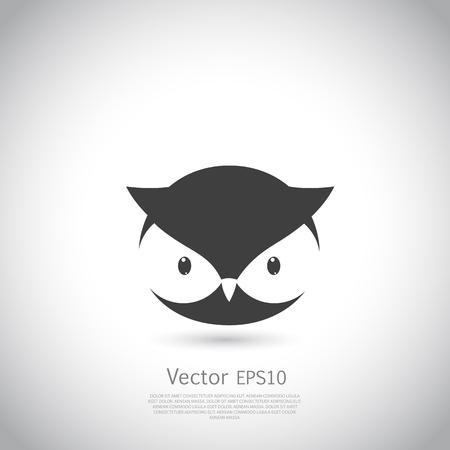 Owl Symbol. Schwarze Silhouette auf grauem Hintergrund. Vektor-Illustration.