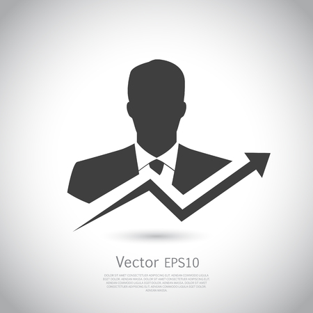 sales manager: Businessman goes to success. Black silhouette on gray background. Template for your design. Vector illustration. Illustration