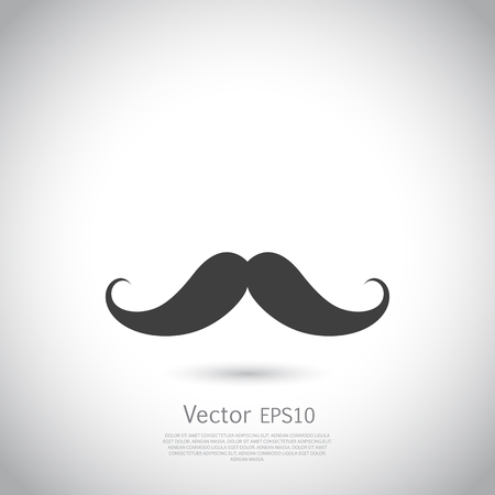 barber: mustache - vector icon. Black silhouette on gray background.