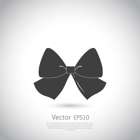 black bow: Bow icon, illustration. Black bow silhouette on gray background.