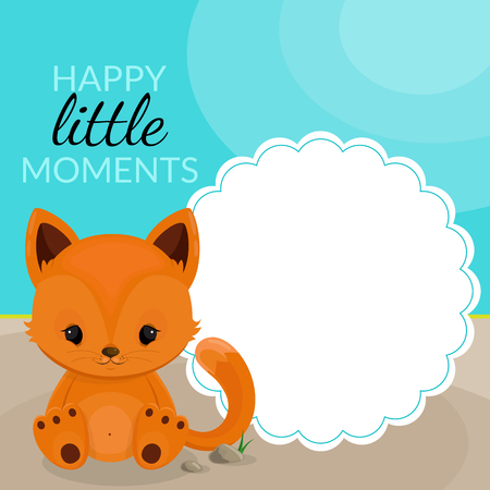 lllustration: Frame with little fox and place for text