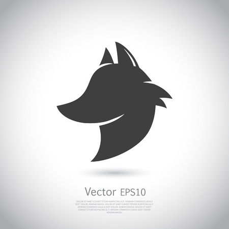 face profile: Stylized fox head. silhouette with gray background.