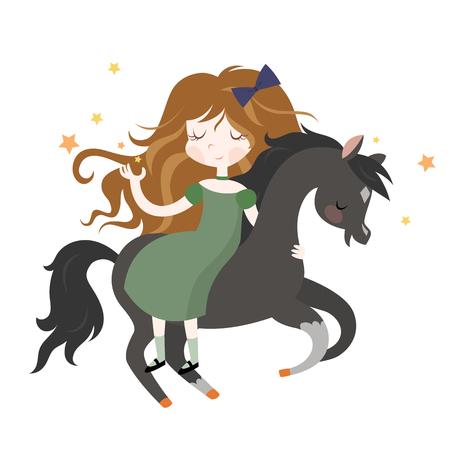 brown: Whimsical girl on black horse. illustration isolated on white background.