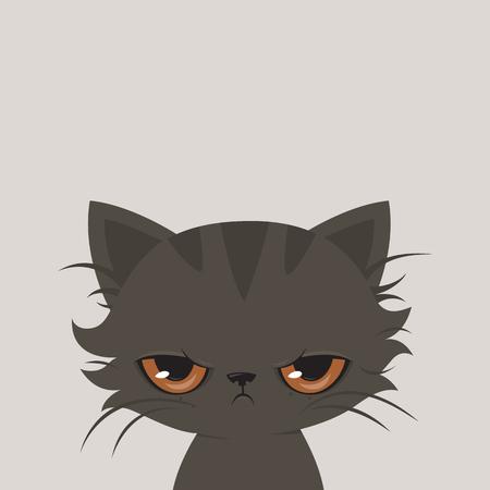 怒っている猫漫画。かわいい気難しい猫の図。  イラスト・ベクター素材