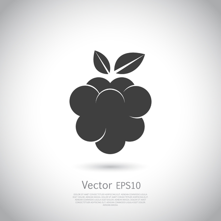 bramble: Raspberry icon silhouette on gray background.