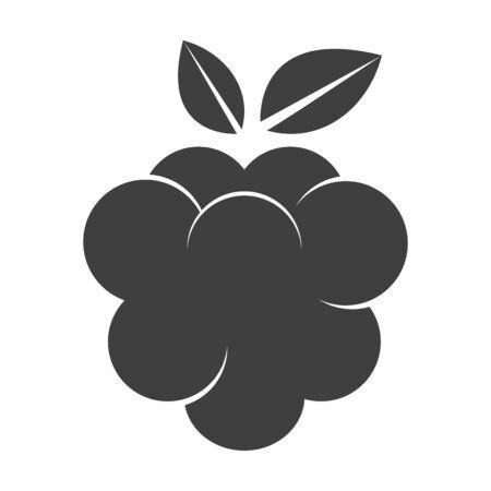 raspberry: Raspberry icon silhouette isolated on white background.