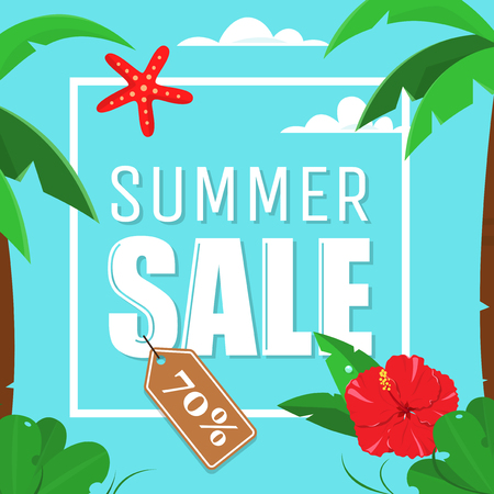 summer sky: Summer Sale Card with palms and hibiscus flowers, no gradients. Summer sale poster on the blue sky background.