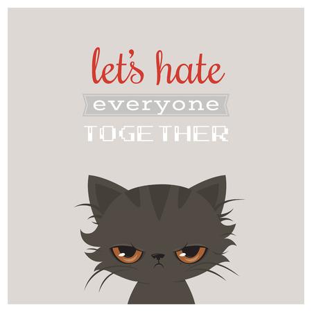 Angry cat cartoon. Cute grumpy cat. Grumpy cat greeting card.