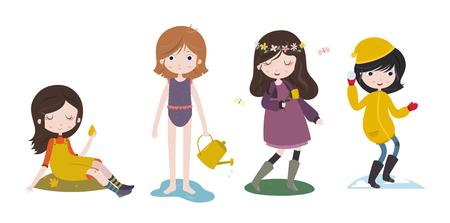 ropa de verano: chicas lindas y las cuatro estaciones del año. Futumn, verano, primavera e invierno. personajes estilizados establecen. Ilustración del vector aislado en el fondo blanco. Vectores