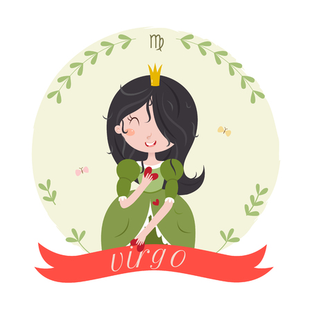 fortune: Cute zodiac sign - Virgo. Cute cartoon character - princess virgo with hearts in hands. Vector illustration on white background. Illustration