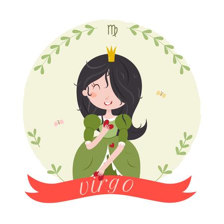 bonne aventure: Signe chinois mignon - Vierge. personnage de dessin animé mignon - princesse virgo avec des coeurs dans les mains. Vector illustration sur fond blanc. Illustration