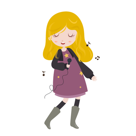 vocalist: Girl singing. Little girl singing with microphone in her hand. Vector illustration.  Stylized cartoon character. Illustration