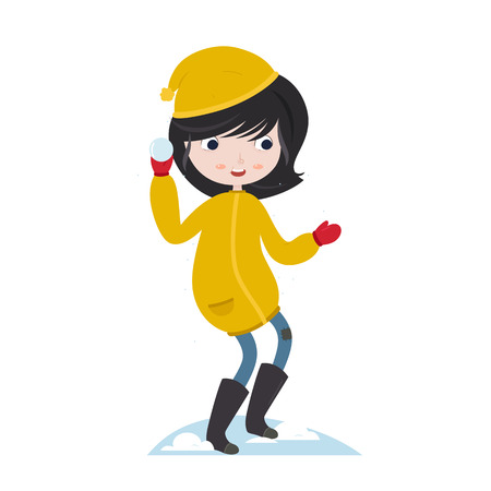 winter fun: Winter fun. Girl playing with snow. Snow ball fight. Vector character isolated on white background.