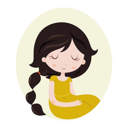 bonne aventure: horoscope mignon. Signes du zodiaque. Scorpion. Série de caractères chinois de bande dessinée. Horoscope pour les enfants ou les adolescents, modèle pour carte, invitation, calendrier ou etc. Vector illustration de la jeune fille isolée sur fond blanc.