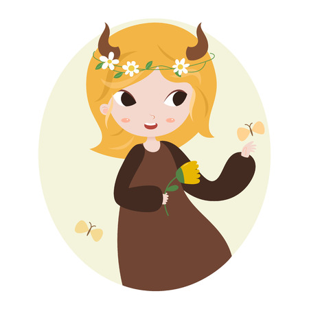fortune flower: Cute horoscope. Zodiac signs. Taurus. Series of cartoon zodiac characters. Horoscope for kids or teens, template for card, invitation, calendar or etc. Vector illustration of the girl isolated on white background.
