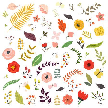 Elementos de diseño floral.