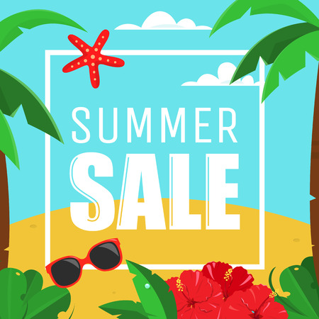 Summer Sale Card with palms and hibiscus flowers, no gradients. Summer sale poster on the blue sky background.