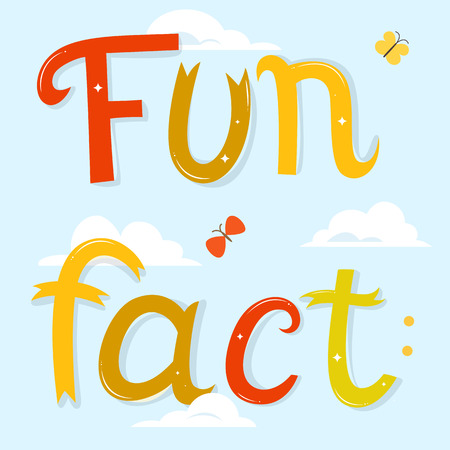 fact: Fun fact lettering. Cartoon letters over blue sky background with clouds.  illustration. Funny poster or card. Illustration