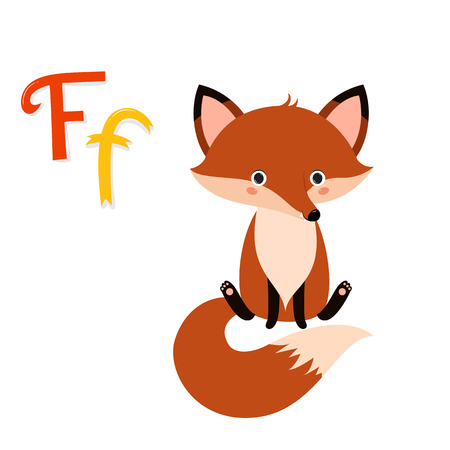 abc kids: Cute zoo alphabet. F letter. Funny cartoon fox. Alphabet design in a colorful style. Kids abc. Kids education. illustration isolated on white background.