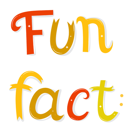 fact: Fun fact lettering. Cartoon letters  isolated on white background.  illustration. Funny poster or card.