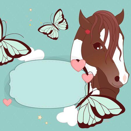 invitacion fiesta: Capítulo con el caballo y el lugar de texto. ilustración.