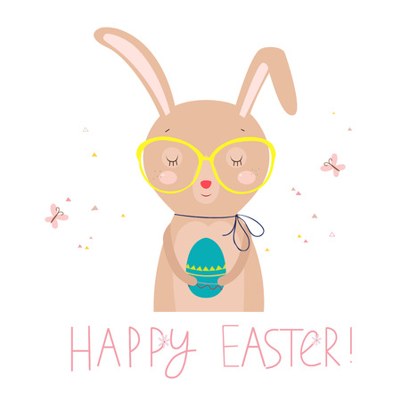 colored egg: Easter card with funny rabbit and colored egg. illustration on white background.