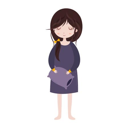 Sleepy girl in pajamas. Cute cartoon girl with pillow. illustration.