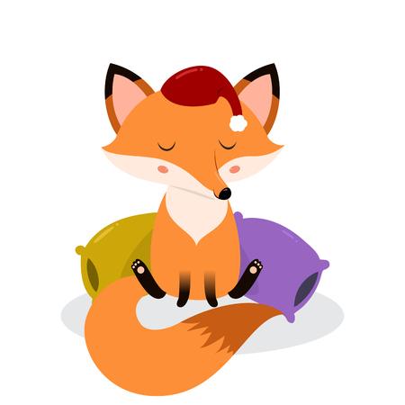 pillows: Cute cartoon sleepy fox on the pillows. illustration isolated on white background.