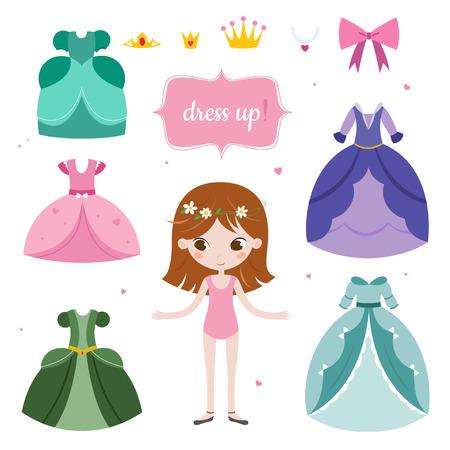 Illustration of princess with beautiful set. Princess dress up game. Vektorové ilustrace