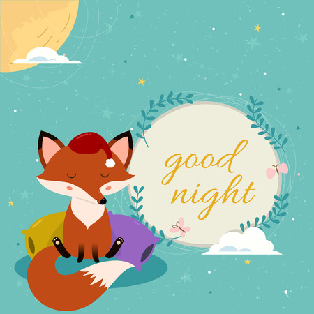 Good night card with cute cartoon sleepy fox on the pillows and text. Blue constellation pattern and moon on the background.