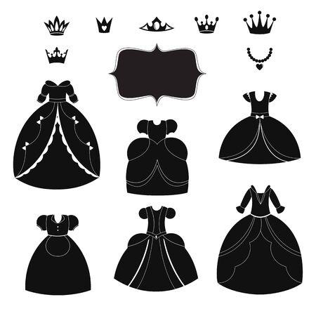 Prinzessin Kleid Silhouetten. Cartoon schwarz und weiß tragbare Gegenstände.
