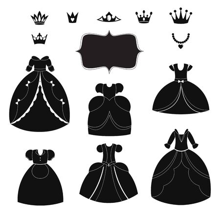 wedding dress: Princess dress silhouettes set. Cartoon black and white wearable items.