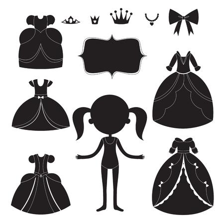 black dress: Princess dress silhouettes set. Cartoon black and white wearable items.