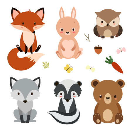Set of cute woodland animals isolated on white background. Illustration