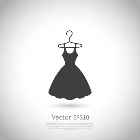 Black dress on hanger. Dress icon, logo. Vector illustration. Logo