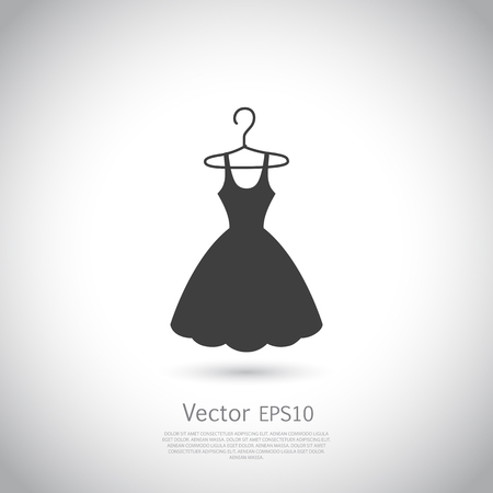 dress: Black dress on hanger. Dress icon, logo. Vector illustration.
