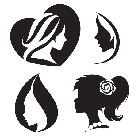 beauty salons: Vector template abstract logo for woman salons and shops. Stylized profile of a young beautiful woman. Abstract logo for a beauty salon. Portrait of a girl. Vector abstract logo. Woman silhouette collection. Illustration