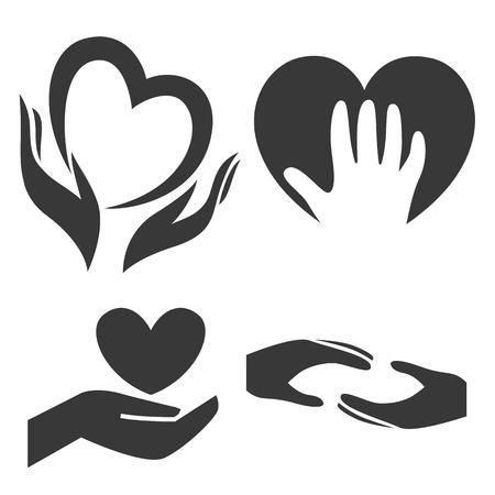 curare teneramente: Cuore in mano simbolo, segno, icona, modello per carità, la salute, profit di volontariato, non, isolato su sfondo bianco