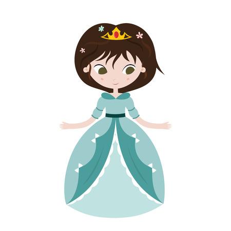Illustration of beautiful princess on white background. Vector illustration.