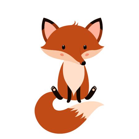 Cute fox cartoon. Vector illustration isolated on white background.