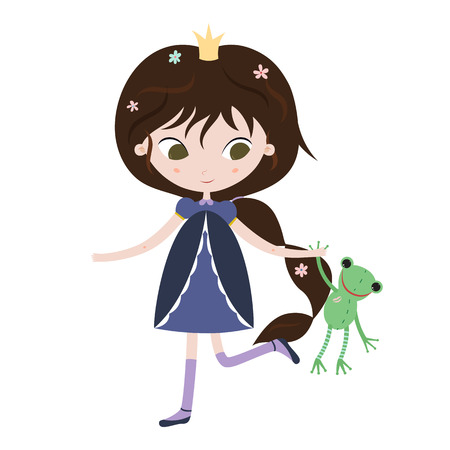frog queen: Illustration of beautiful princess on white background. Vector illustration.
