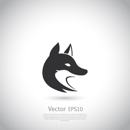 black fox: Stylized fox head. Vector silhouette with gray background.