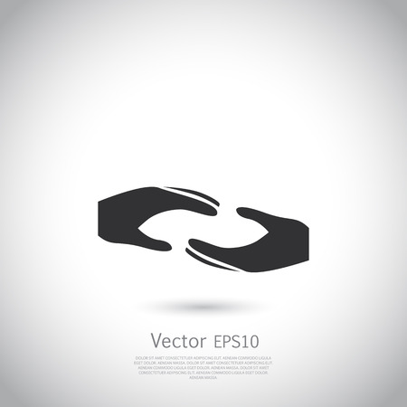 voluntary: Two hands symbol, sign, icon,  charity, health, voluntary, non profit organization. Vector. Illustration