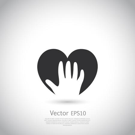 voluntary: Hand holding heart symbol, sign, icon,  charity, health, voluntary, non profit organization. Vector.