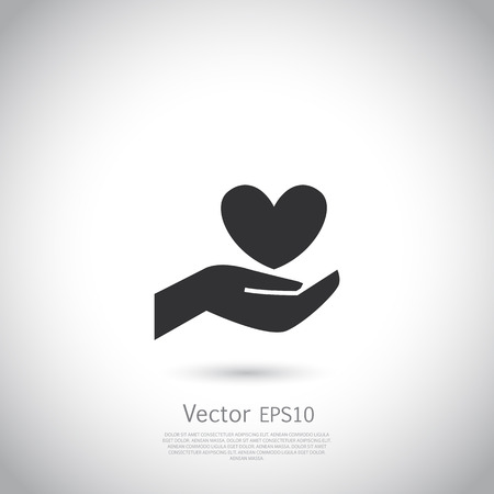hand holding sign: Hand holding heart symbol, sign, icon,  charity, health, voluntary, non profit organization. Vector.