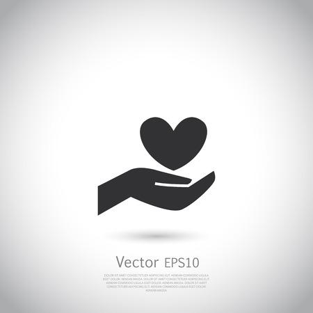 curare teneramente: Mano che tiene il simbolo del cuore, segno, icona, la carità, la salute, profit volontaria e non. Vettore.