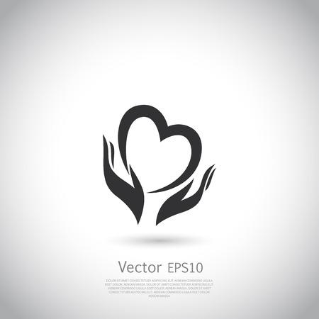 Hände halten Herz-Symbol, Zeichen, Symbol, der Liebe, Gesundheit, freiwillige, gemeinnützige Organisation. Vektor. Vektorgrafik