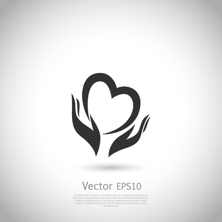 hands holding sign: Hands holding heart symbol, sign, icon,  charity, health, voluntary, non profit organization. Vector.