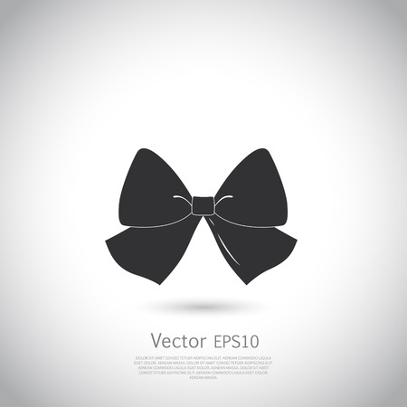 Black bow   silhouette on gray background, place for your text. Illustration